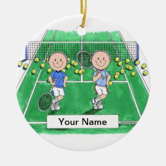 Tennis Players - Male & Male Ceramic Ornament
