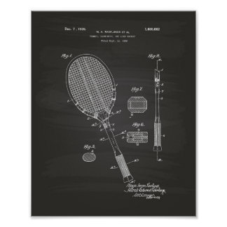 Tennis Racket 1925 Patent Art Chalkboard Poster