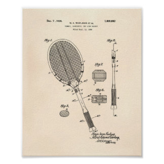 Tennis Racket 1925 Patent Art Old Peper Poster