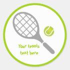 Tennis racket and ball custom classic round sticker