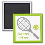 Tennis racket and ball custom fridge magnets