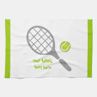 Tennis racket and ball custom hand towels