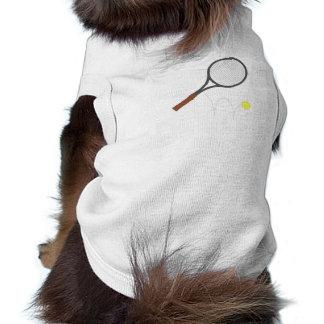 Tennis Racket And Ball Dog Tee Shirt