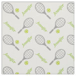 Tennis racket, ball and your name personalized fabric