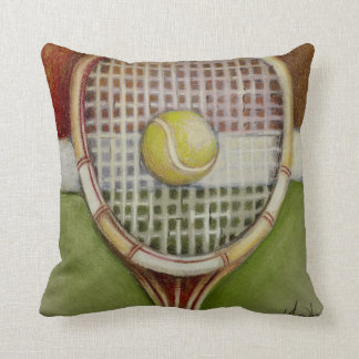 Tennis Racket with Ball Laying on Court Throw Pillow
