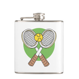 Tennis Rackets and Ball Hip Flask