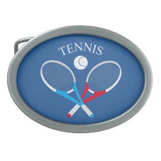 Tennis rackets and tennis ball oval belt buckle