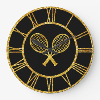 Tennis Rackets in Gold Large Clock