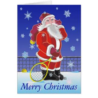 Tennis Santa Happy Holidays personalized Card