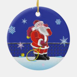 Tennis Santa, Merry Christmas Round Ceramic Ornament