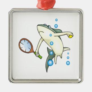 Tennis Shark Metal Ornament