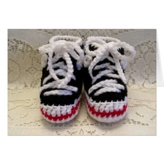 Tennis Shoes Baby Booties Card