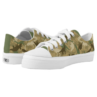Tennis Shoes with Camo Dinosaur Print