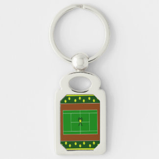 Tennis Silver-Colored Rectangle Keychain