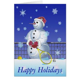 Tennis Snowman Happy Holidays Card