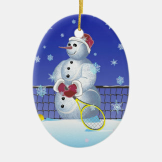 Tennis Snowman, Happy Holidays Ceramic Oval Ornament
