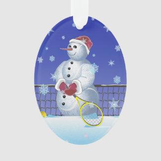 Tennis Snowman, Happy Holidays Ornament