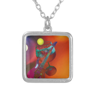 Tennis sport have a party today silver plated necklace