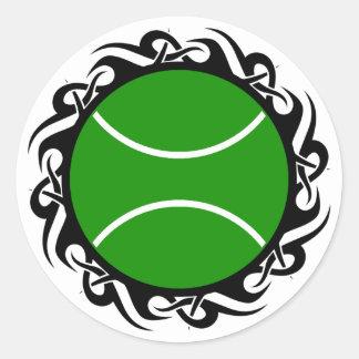 tennis. tribal. classic round sticker