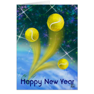 Tennis Victory Happy New Year party Card