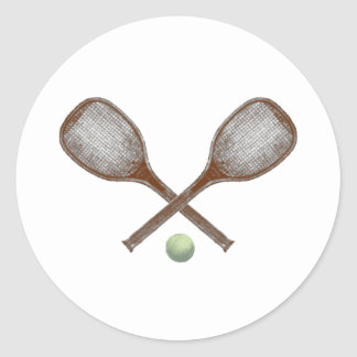 tennis vintage racket and ball classic round sticker
