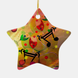 Tennis with music notes in Christmas Ceramic Ornament