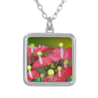 Tennis with red flowers silver plated necklace