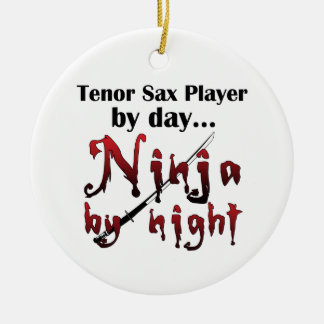 Tenor Sax Ninja Round Ceramic Ornament
