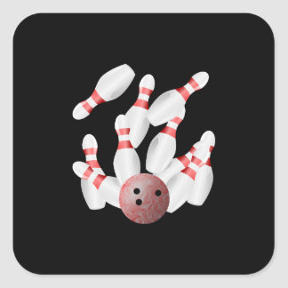 Tenpin bowling Pins and Bowling Ball Square Sticker