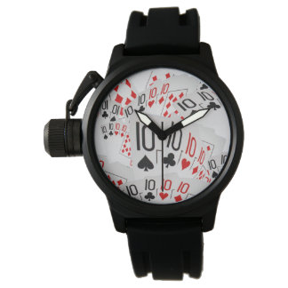 Tens, Poker Cards, Mens Black Rubber Watch. Watch