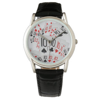 Tens, Poker Cards, Mens Classic Leather Watch. Wristwatches