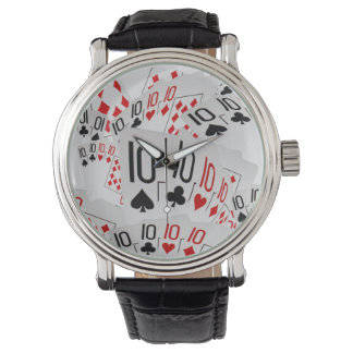 Tens, Poker Cards, Mens Large Face Leather Watch. Watch