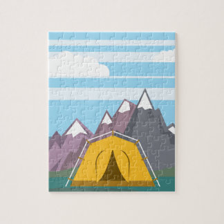 Tent and mountains jigsaw puzzle