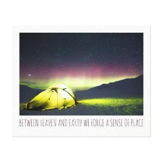 Tent Camper Under Aurora borealis At Night Canvas Print