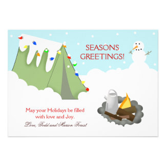 Tent Camping Snow Holiday Christmas Card