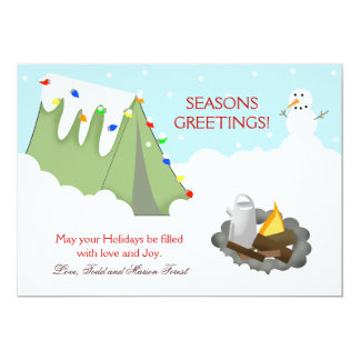 "Tent Camping Snow Holiday Christmas Card 5"" X 7"" Invitation Card"
