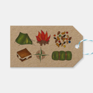 Tent Sleeping Bag Camp Fire S'mores Camping Tags