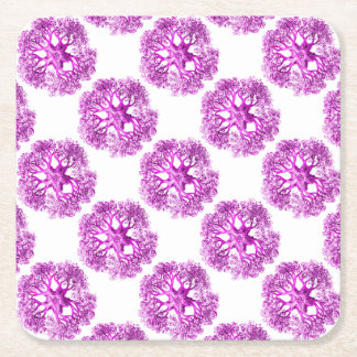 Tentacle Section in Pink Square Paper Coaster