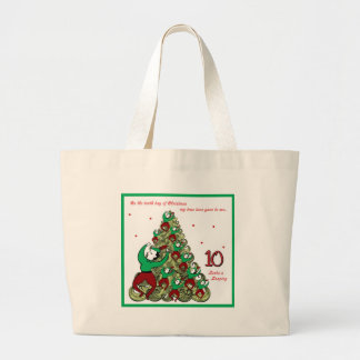 Tenth Day of Christmas Large Tote Bag