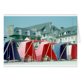 Tents on beach in Brittany, France Card