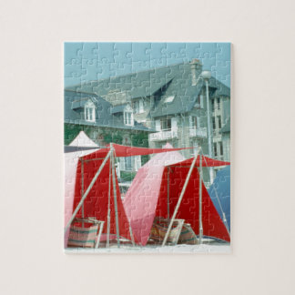 Tents on beach in Brittany, France Jigsaw Puzzle