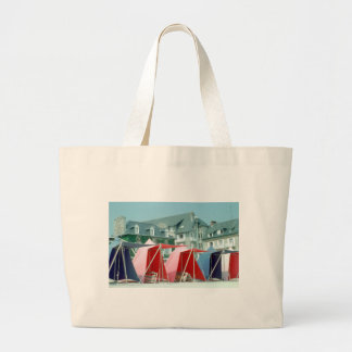 Tents on beach in Brittany, France Large Tote Bag