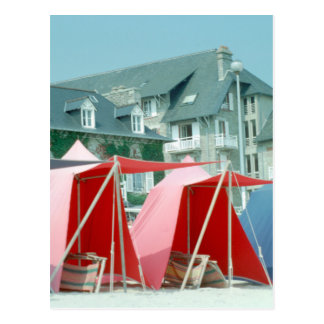 Tents on beach in Brittany, France Postcard