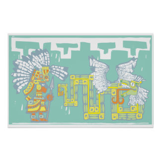 Teotihuacan Warrior and Kukulkan Poster