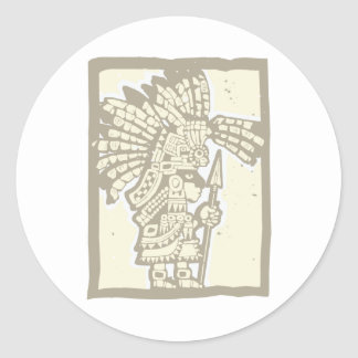 Teotihuacan Warrior Classic Round Sticker