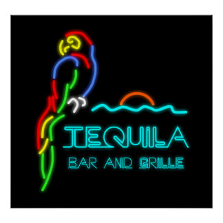 Tequila Bar and Grille Neon Sign Poster