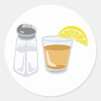 Tequila Drink Glass Salt Shaker Lemon Round Sticker