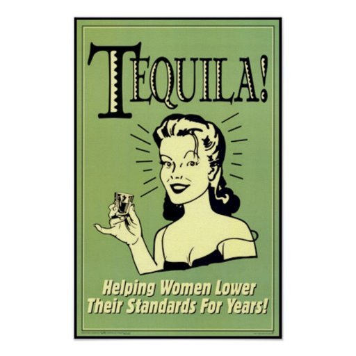 Tequila - femmes de aide plus bas leurs normes pou affiches