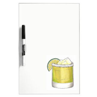 Tequila Margarita Cocktail Glass Mixed Drink Lime Dry Erase Board