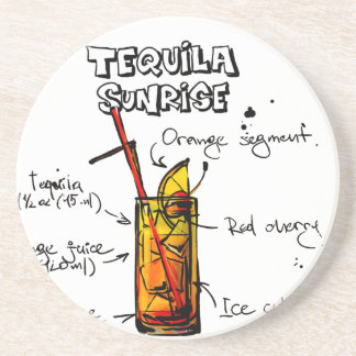Tequila Sunrise Cocktail Recipe Drink Coasters